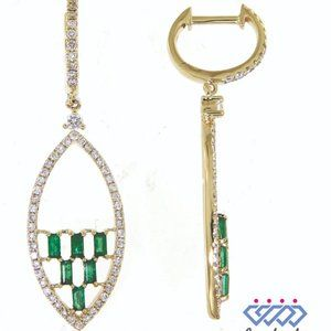 Emerald Diamond Fancy Dangling Earring Yellow Gold